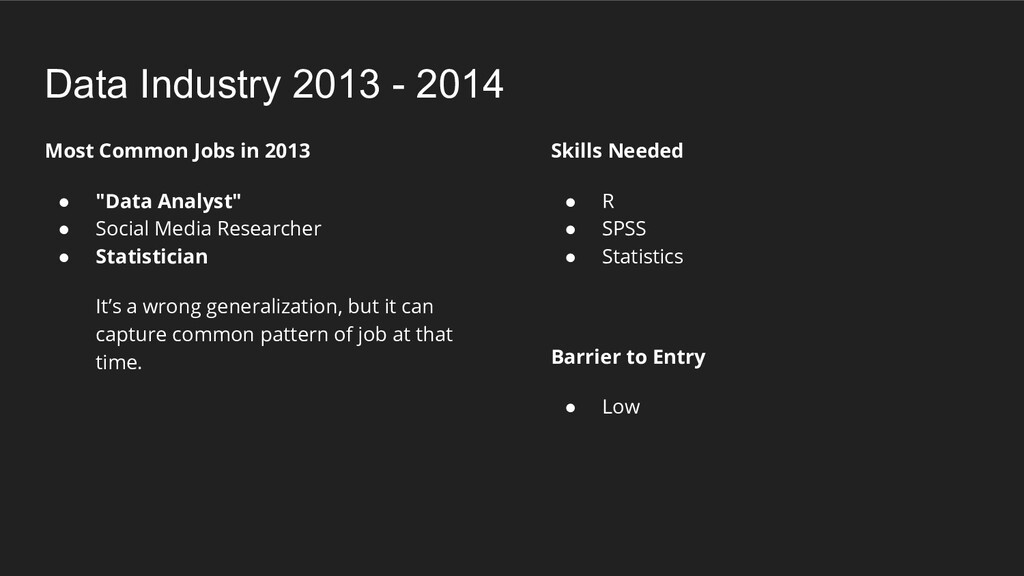 """Most Common Jobs in 2013 ● """"Data Analyst"""" ● Soc..."""
