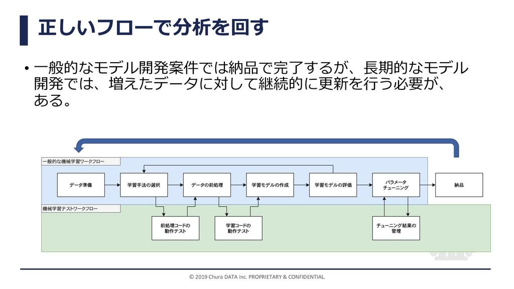 正しいフローで分析を回す • ⼀般的なモデル開発案件では納品で完了するが、⻑期的なモデル 開発...