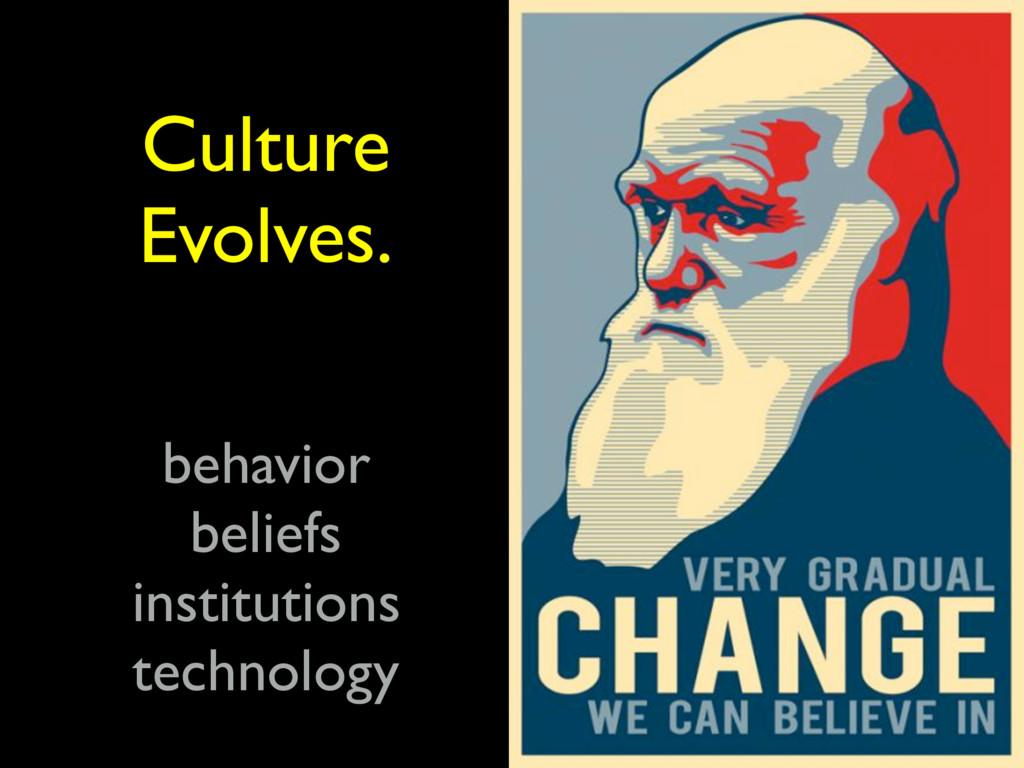 Culture Evolves. behavior beliefs institutions ...