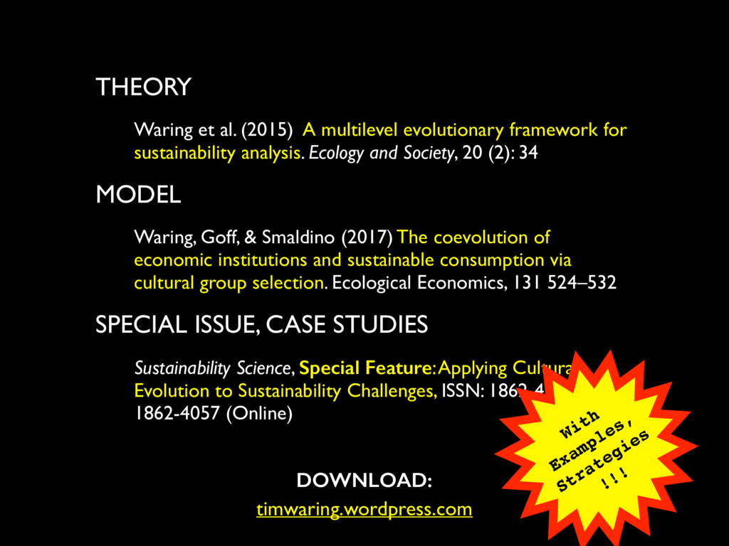 THEORY Waring et al. (2015) A multilevel evolut...