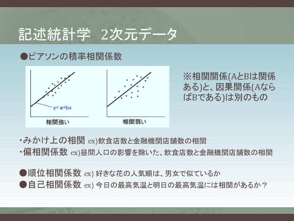 記述統計学 2次元データ ●ピアソンの積率相関係数 ※相関関係(AとBは関係 ある)と、因果関...