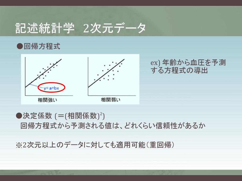 記述統計学 2次元データ ●回帰方程式 ex) 年齢から血圧を予測 する方程式の導出 ●決定係...