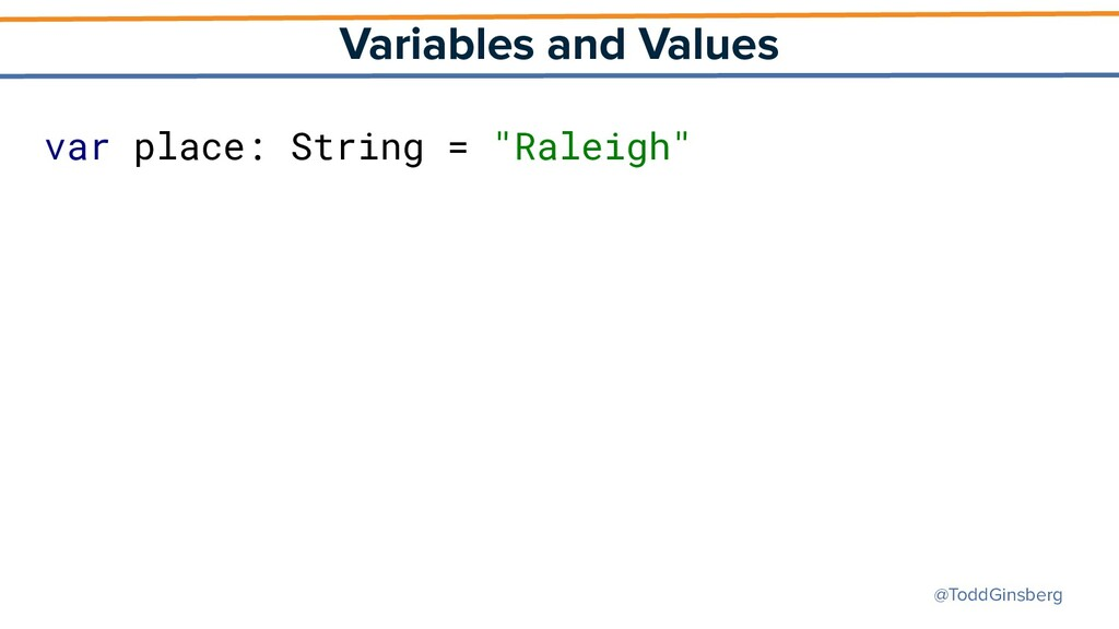@ToddGinsberg Variables and Values var place: S...