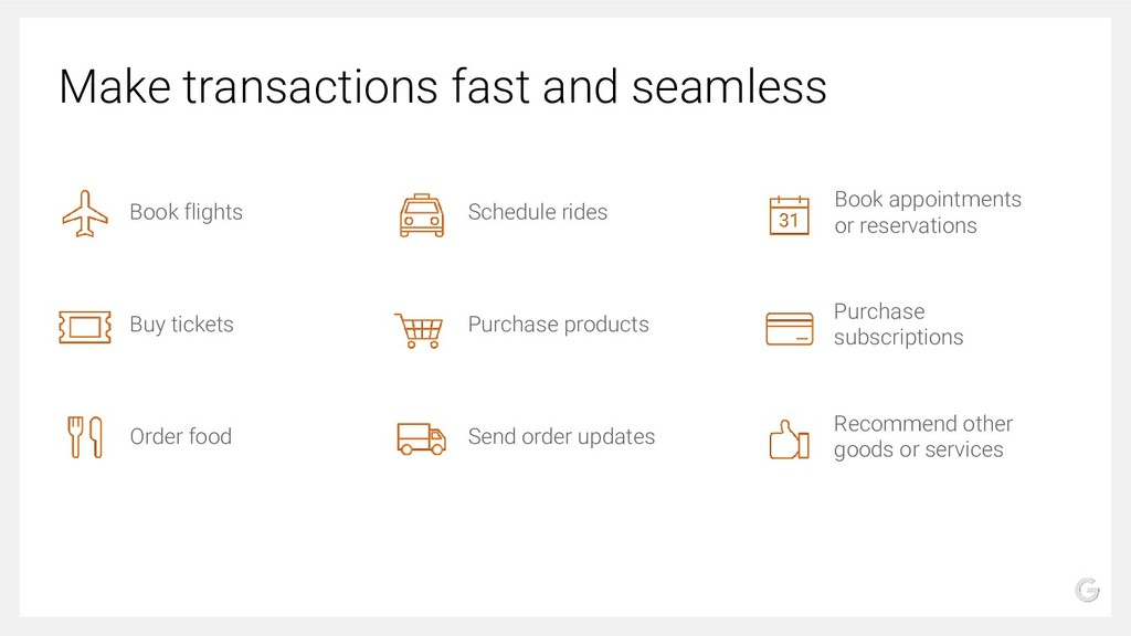 Make transactions fast and seamless Book flight...