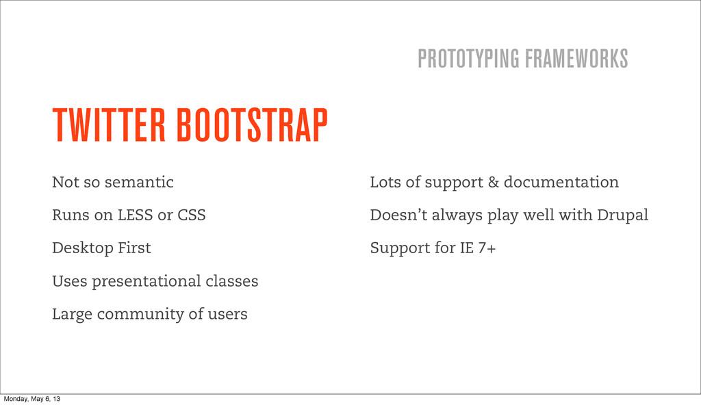 TWITTER BOOTSTRAP Not so semantic Runs on LESS ...