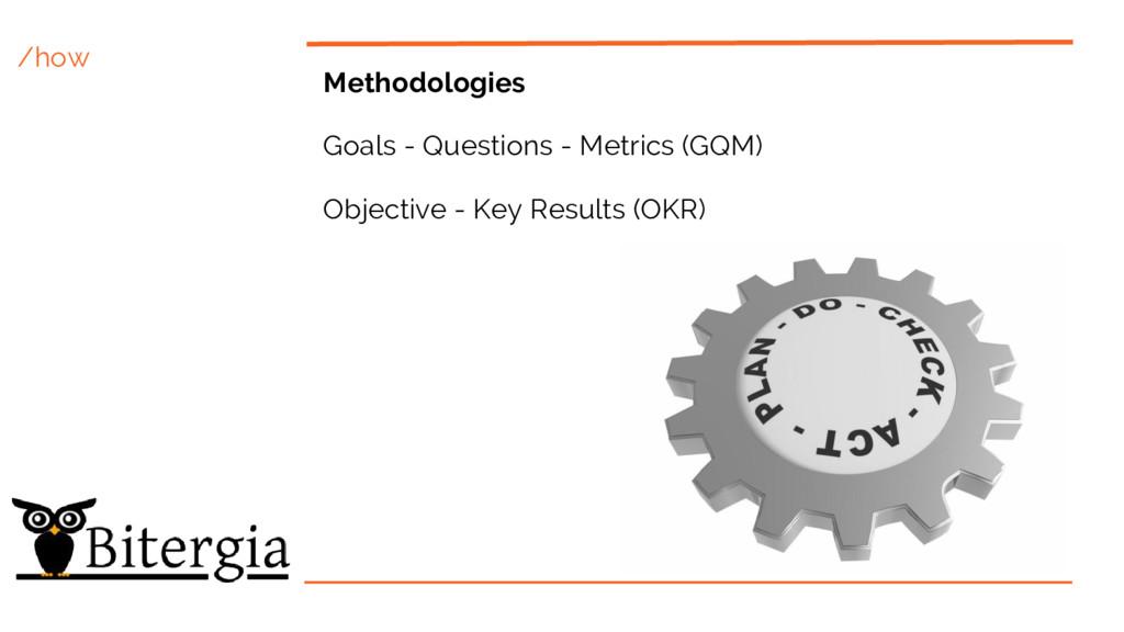/how Methodologies Goals - Questions - Metrics ...