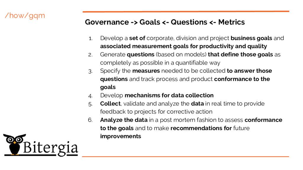/how/gqm Governance -> Goals <- Questions <- Me...
