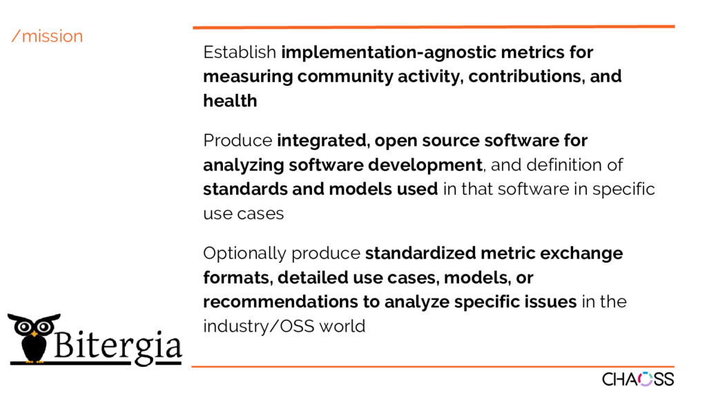 /mission Establish implementation-agnostic metr...