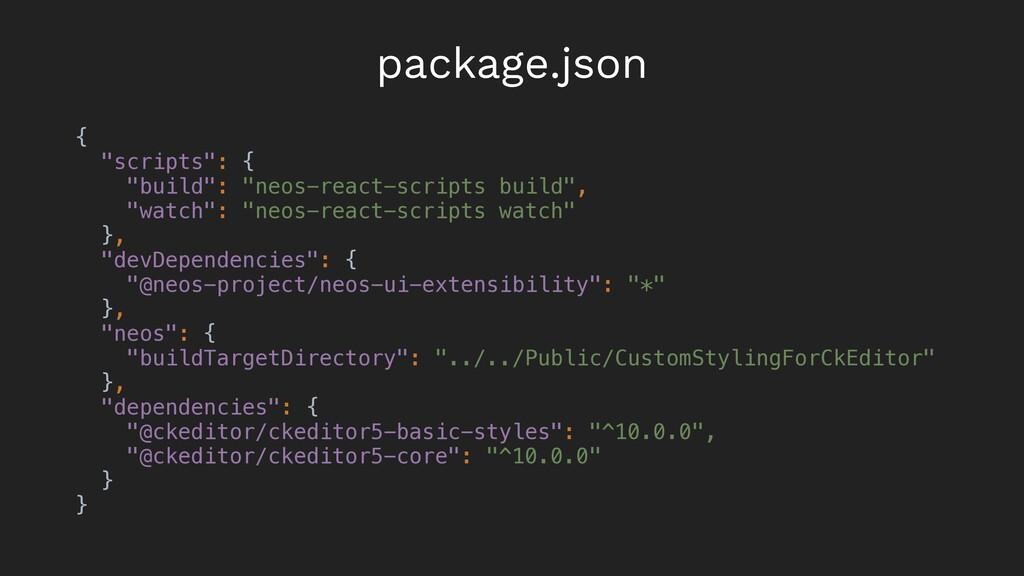 "{ ""scripts"": { ""build"": ""neos-react-scripts bui..."