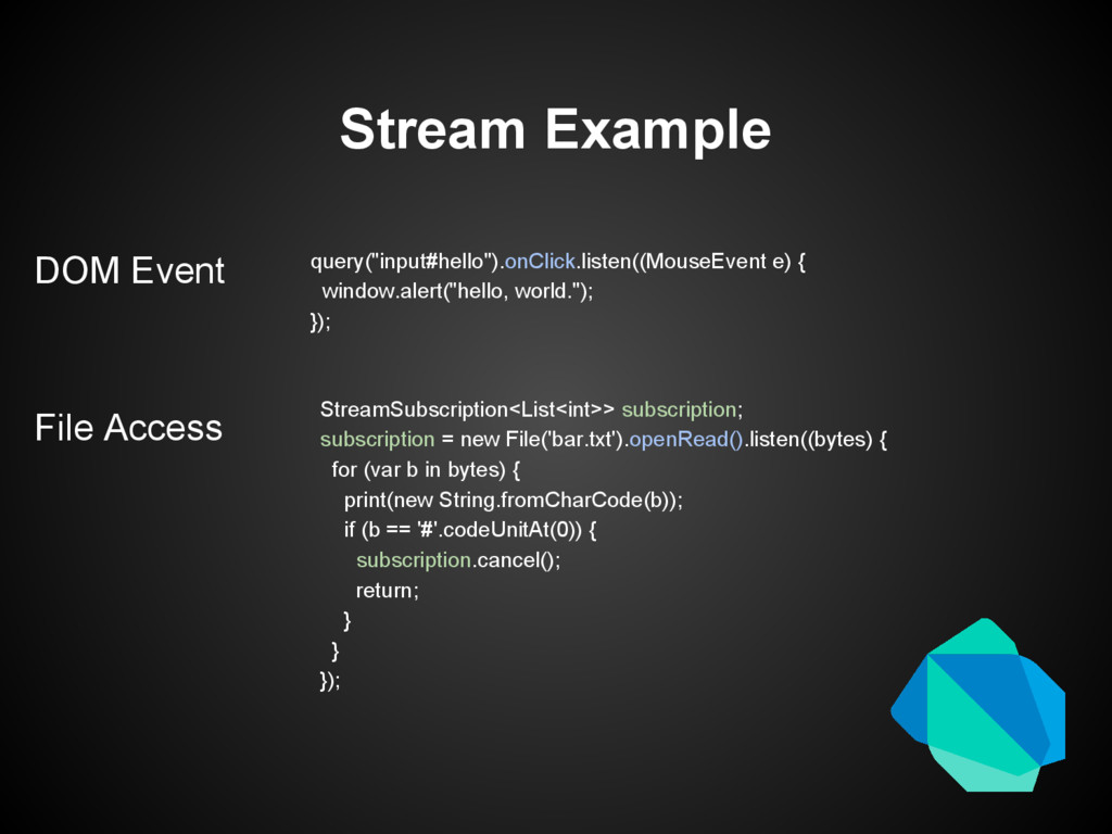 "Stream Example query(""input#hello"").onClick.lis..."