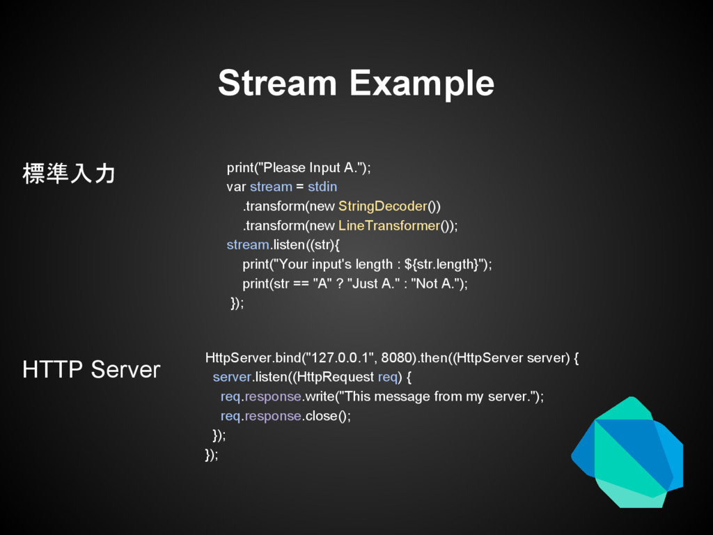 Stream Example 標準入力 HTTP Server HttpServer.bind...