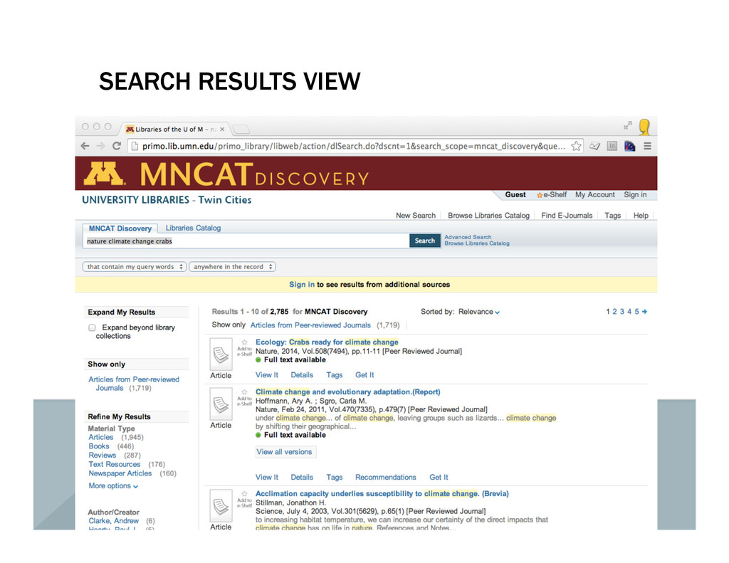 SEARCH RESULTS VIEW