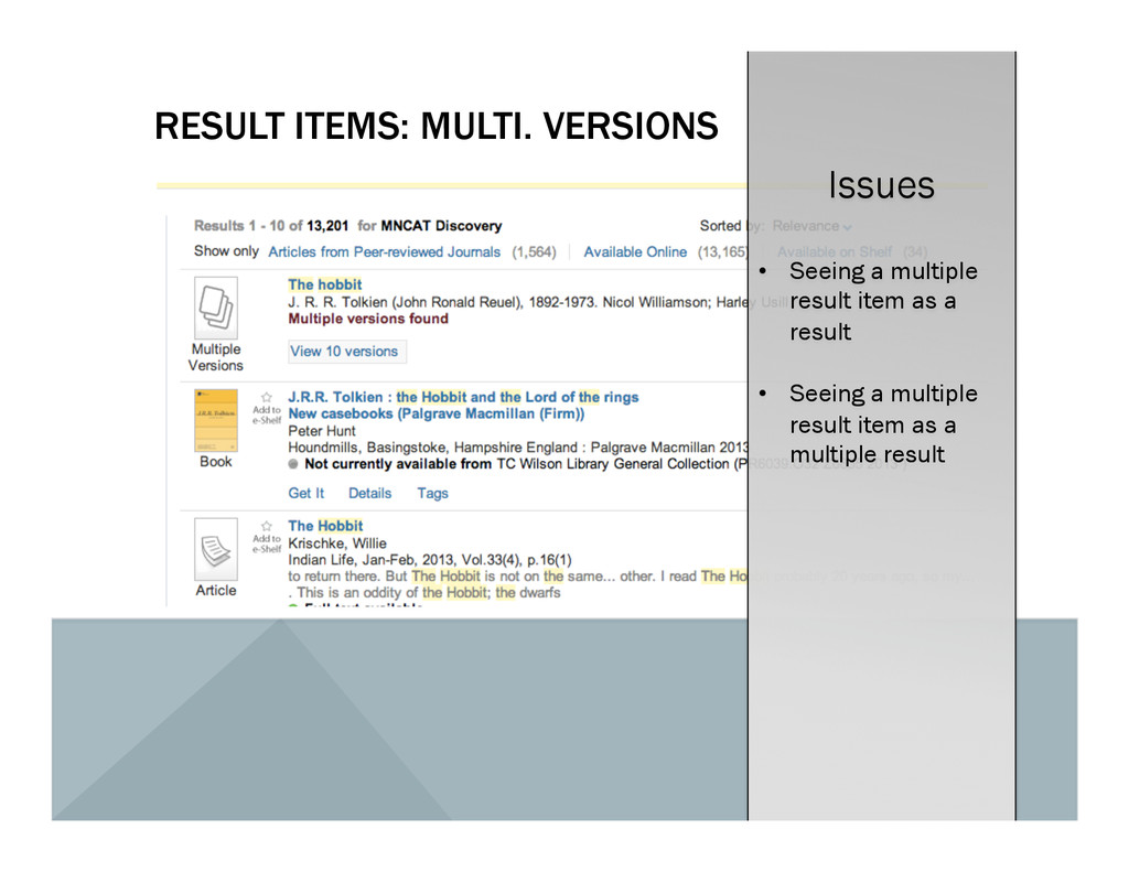 RESULT ITEMS: MULTI. VERSIONS Issues •  Seeing ...