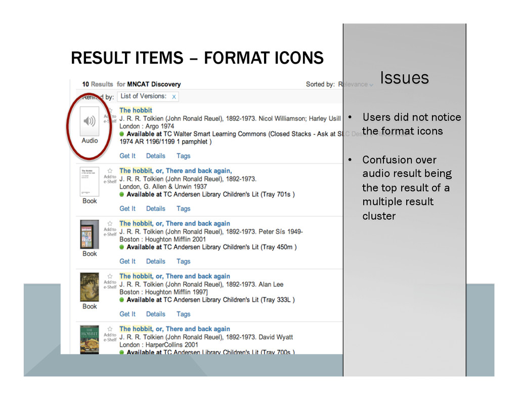RESULT ITEMS – FORMAT ICONS Issues •  Users did...