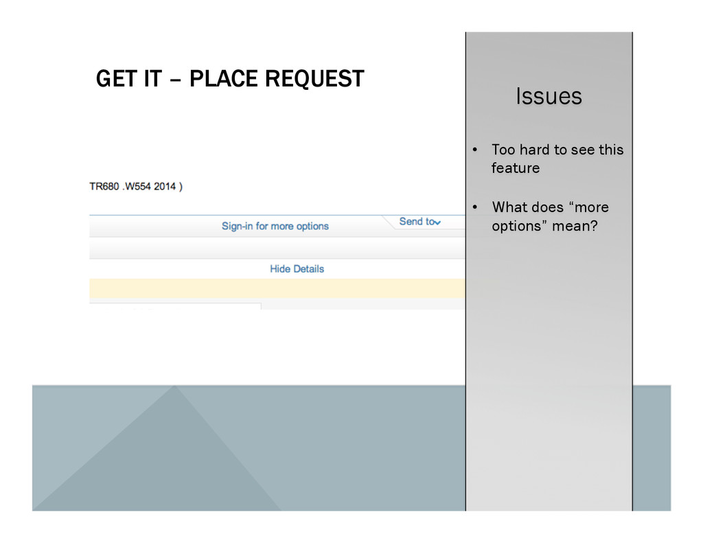 GET IT – PLACE REQUEST Issues •  Too hard to se...