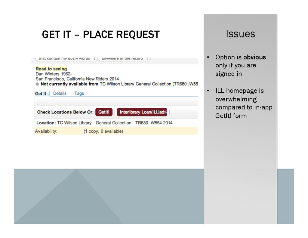 GET IT – PLACE REQUEST Issues •  Option is obvi...