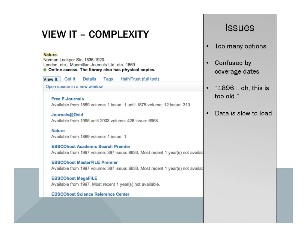 VIEW IT – COMPLEXITY Issues •  Too many options...