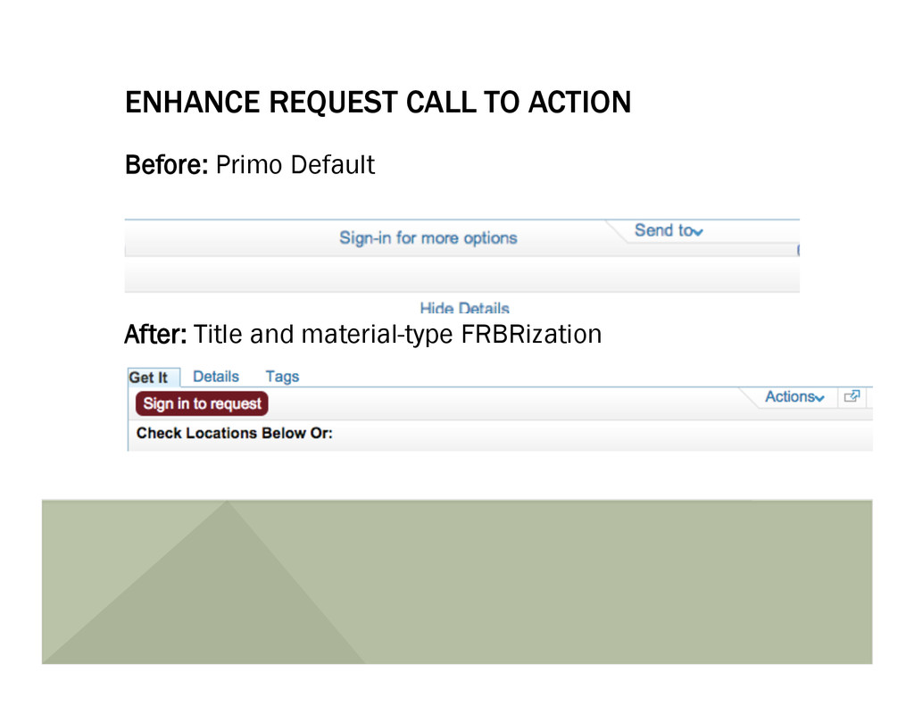 ENHANCE REQUEST CALL TO ACTION Before: Primo De...