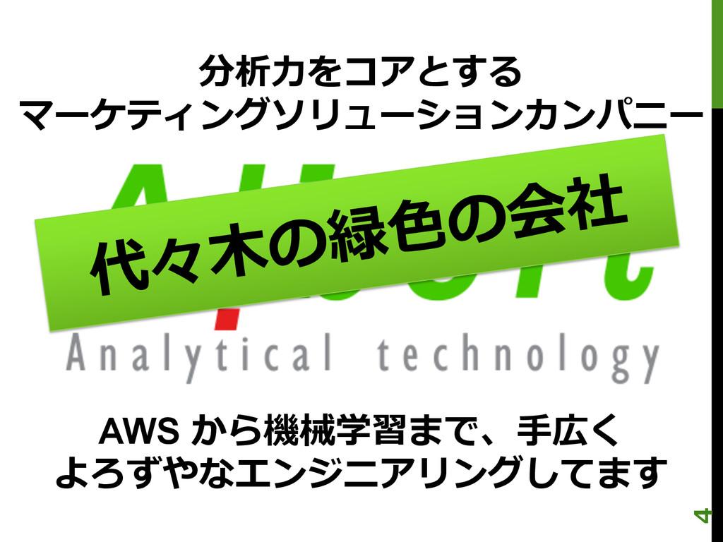 分析⼒力力をコアとする マーケティングソリューションカンパニー AWS から機械学習まで、⼿手...