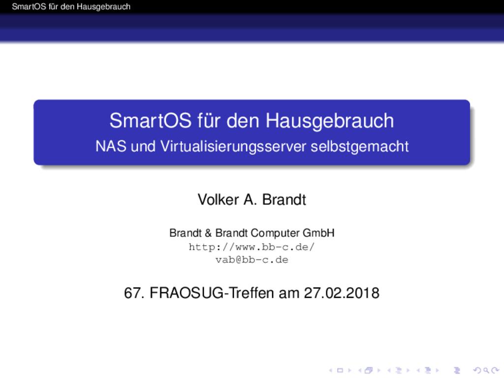 SmartOS für den Hausgebrauch SmartOS für den Ha...