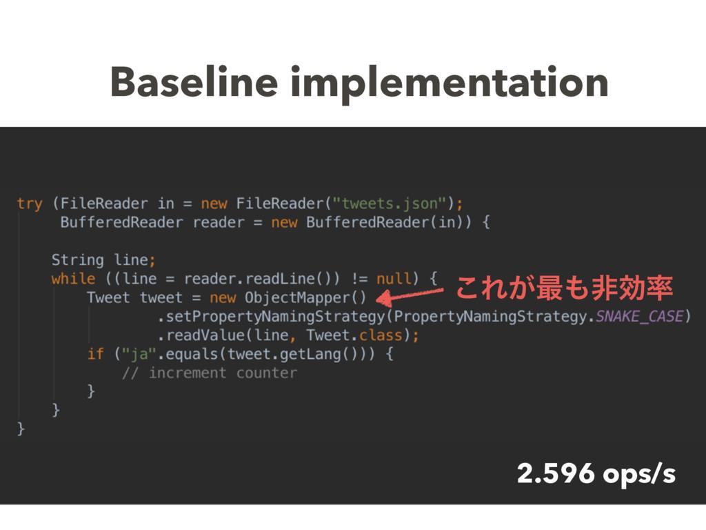 Baseline implementation 2.596 ops/s ͜Ε͕࠷ඇޮ