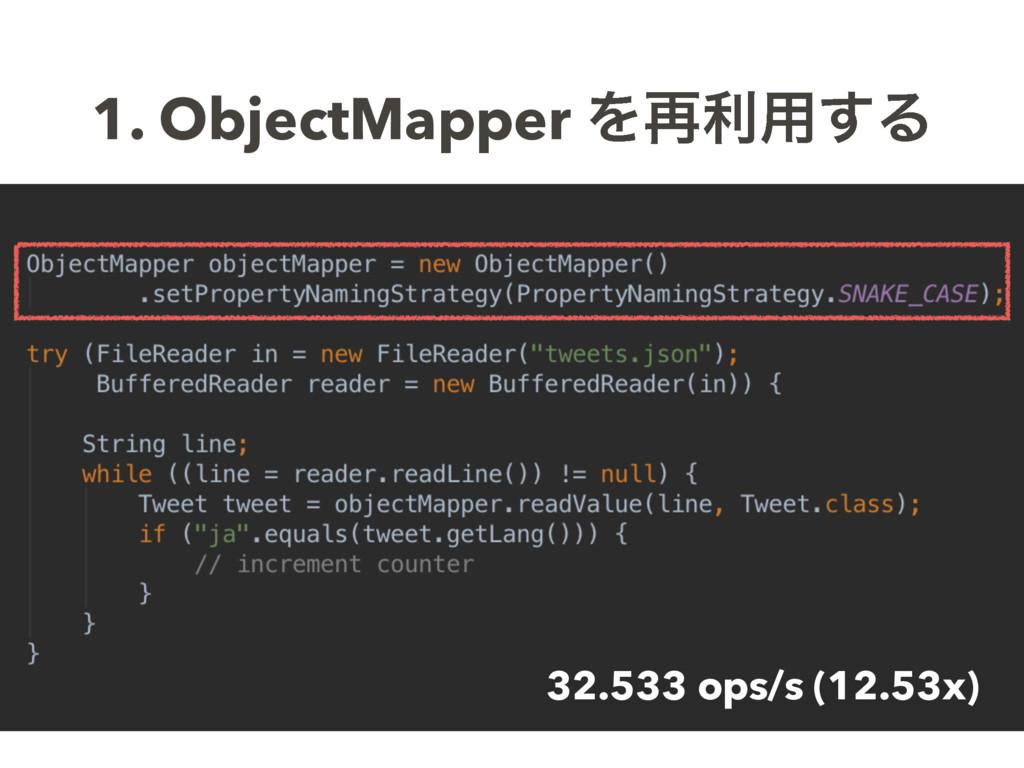 1. ObjectMapper Λ࠶ར༻͢Δ 32.533 ops/s (12.53x)