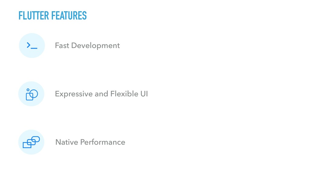FLUTTER FEATURES Fast Development Expressive an...
