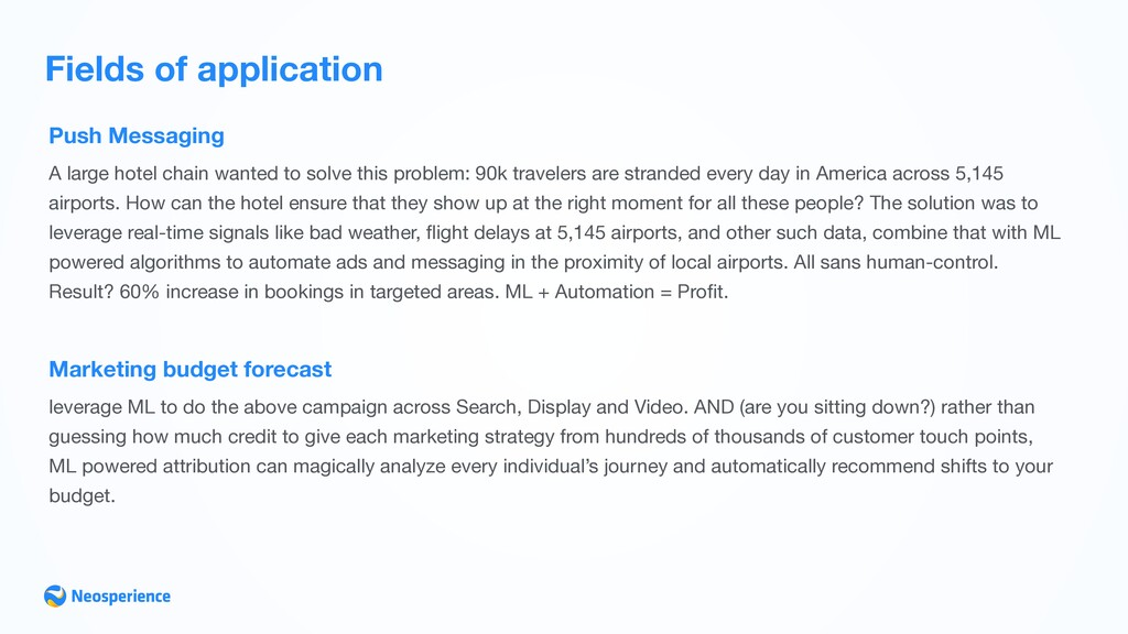 Fields of application Push Messaging A large ho...