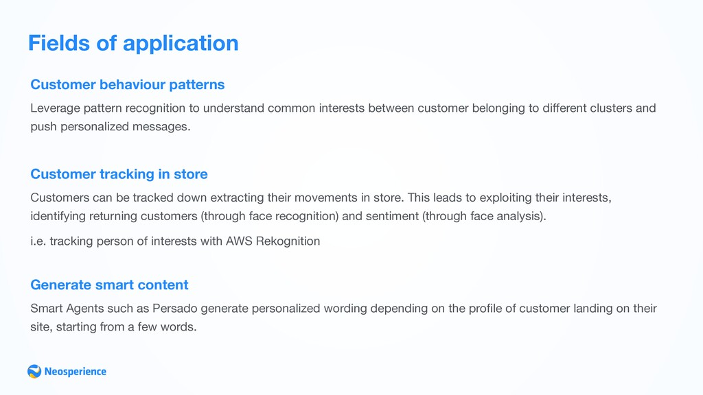 Fields of application Customer behaviour patter...