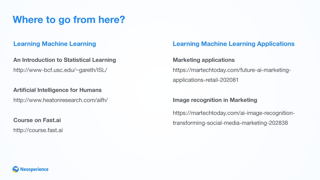 Learning Machine Learning Where to go from here...