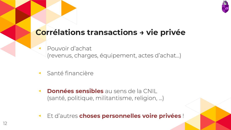 Corrélations transactions → vie privée ◂ ◂ ◂ Do...