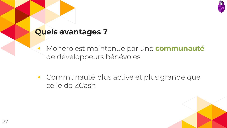 Quels avantages ? ◂ communauté ◂ 37