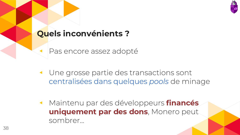 Quels inconvénients ? ◂ ◂ ◂ financés uniquement...