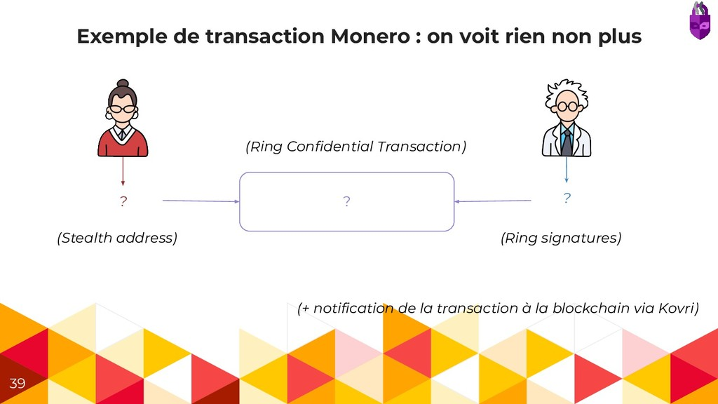 Exemple de transaction Monero : on voit rien no...