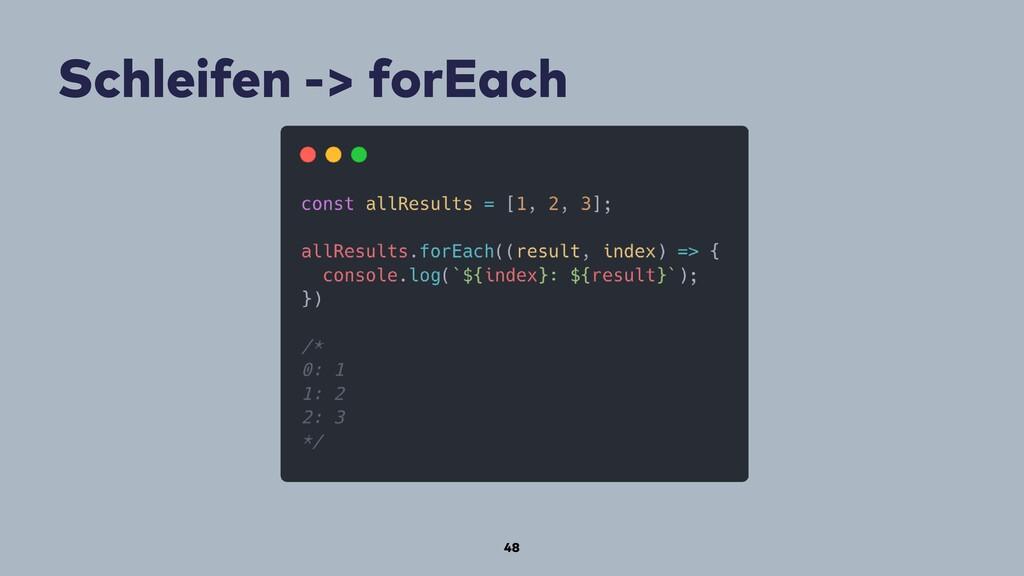 48 Schleifen -> forEach