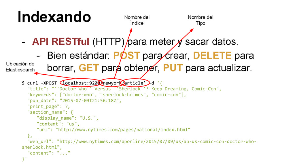 Indexando - API RESTful (HTTP) para meter y sac...
