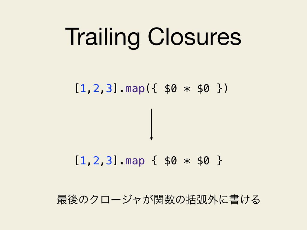 Trailing Closures ࠷ޙͷΫϩʔδϟ͕ؔͷׅހ֎ʹॻ͚Δ [1,2,3].m...
