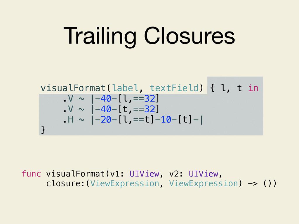 Trailing Closures visualFormat(label, textField...