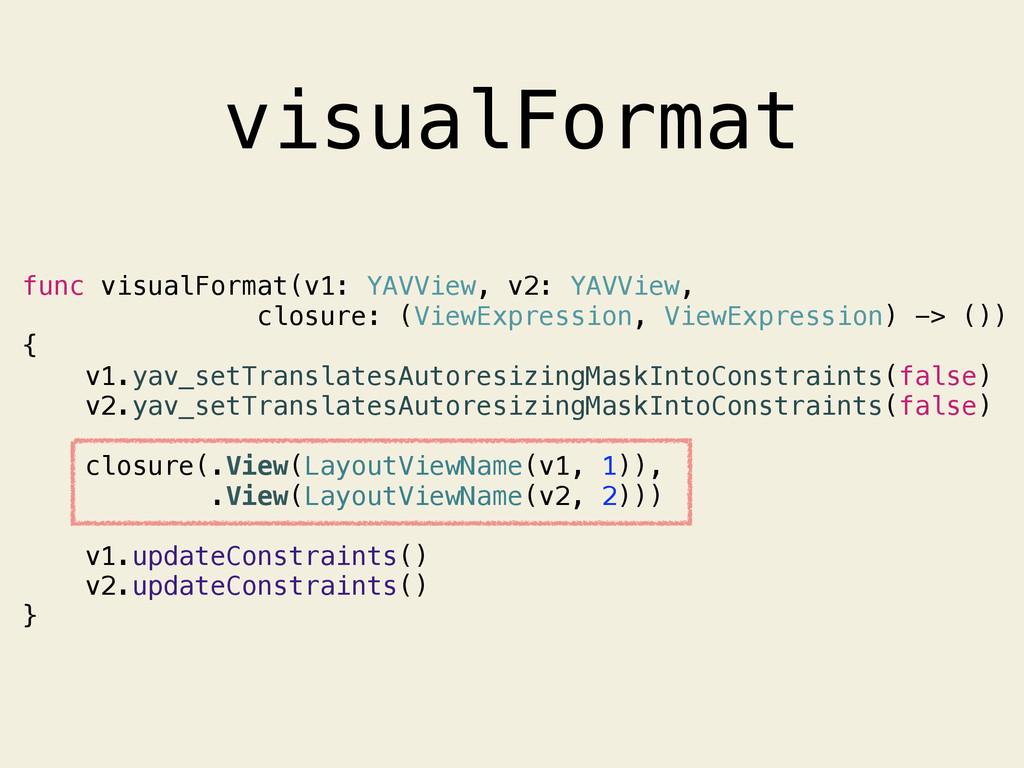 visualFormat func visualFormat(v1: YAVView, v2:...