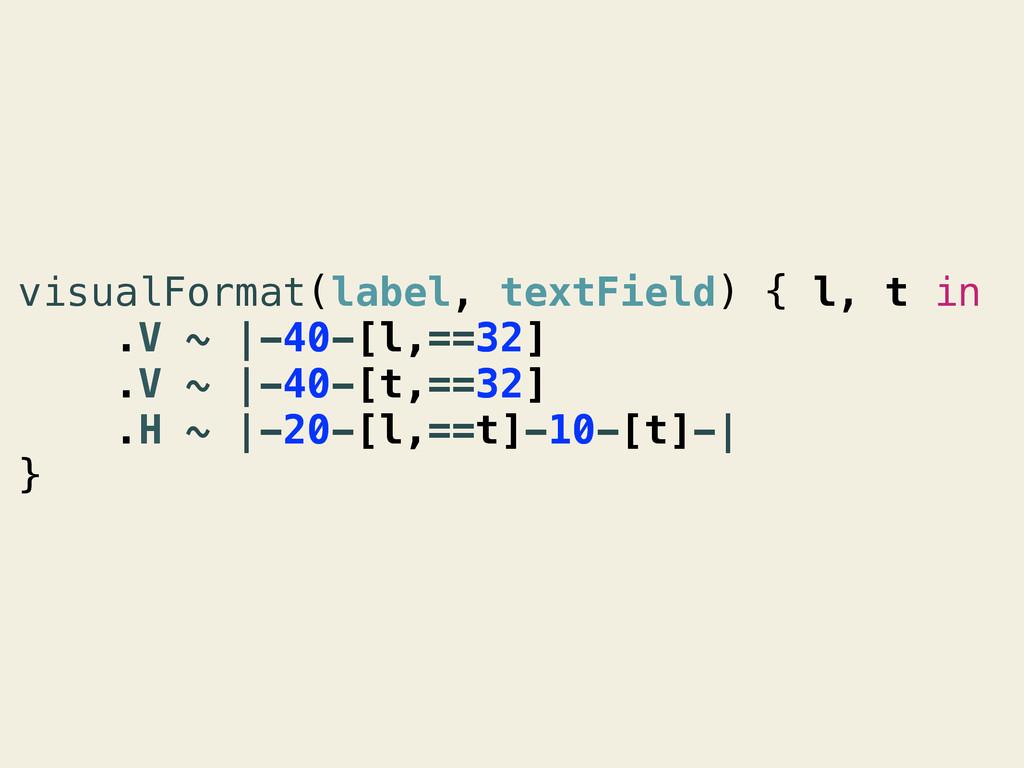 visualFormat(label, textField) { l, t in .V ~ |...