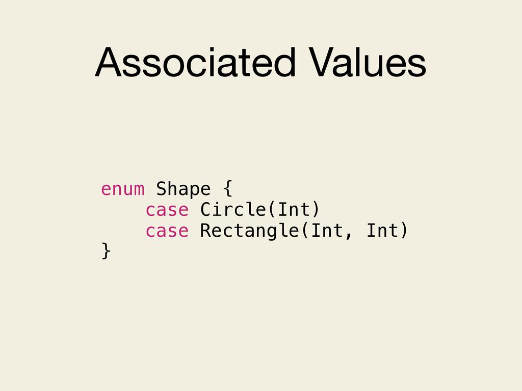 Associated Values enum Shape { case Circle(Int)...