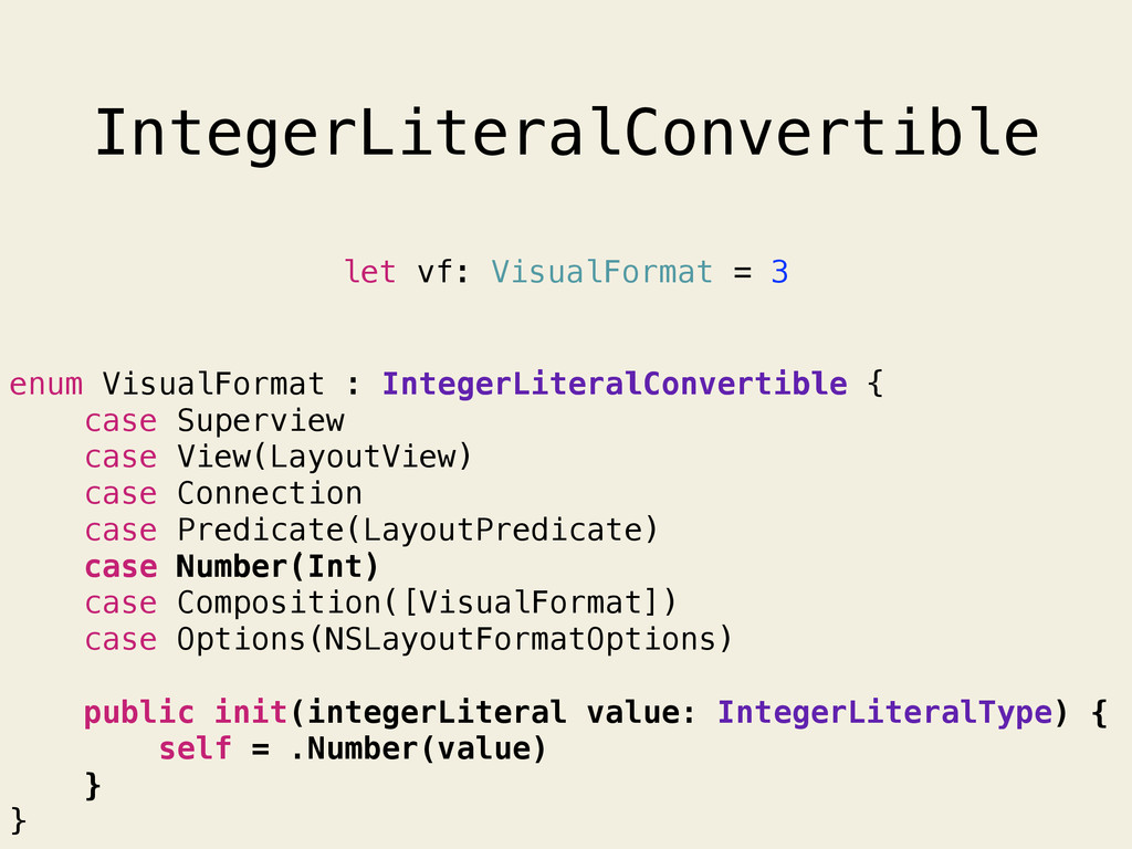IntegerLiteralConvertible enum VisualFormat : I...