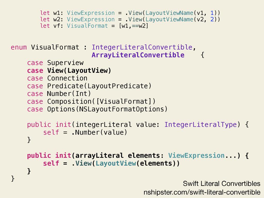 enum VisualFormat : IntegerLiteralConvertible, ...
