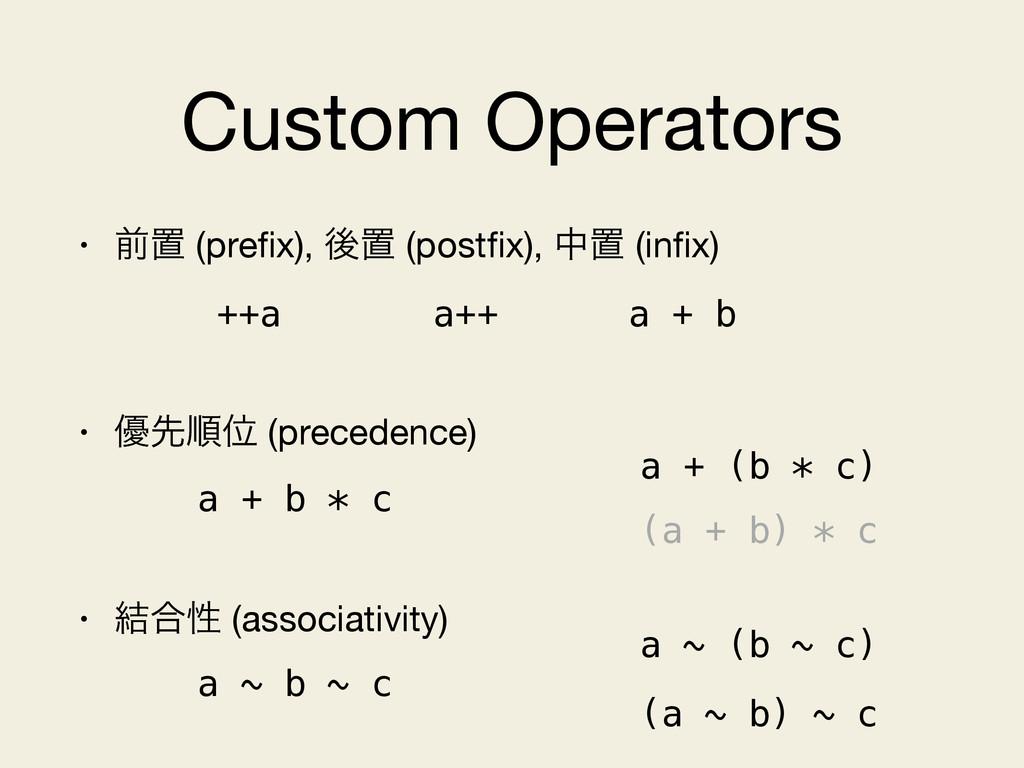 Custom Operators • લஔ (prefix), ޙஔ (postfix), தஔ ...