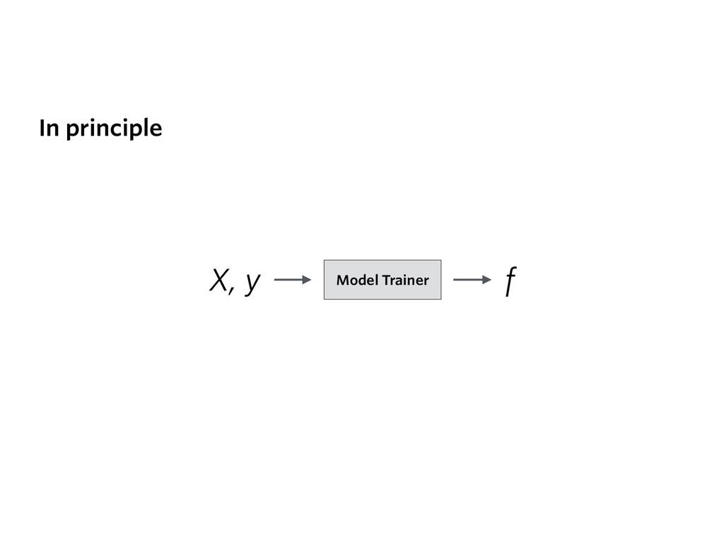 X, y f Model Trainer In principle