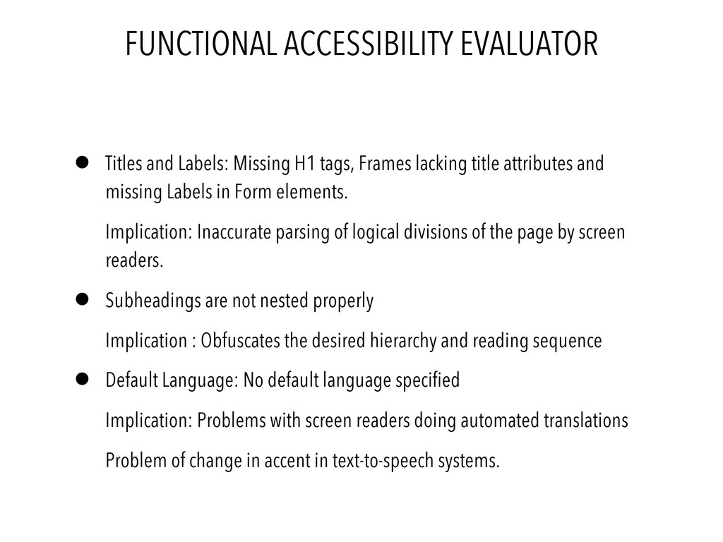 FUNCTIONAL ACCESSIBILITY EVALUATOR • Titles and...