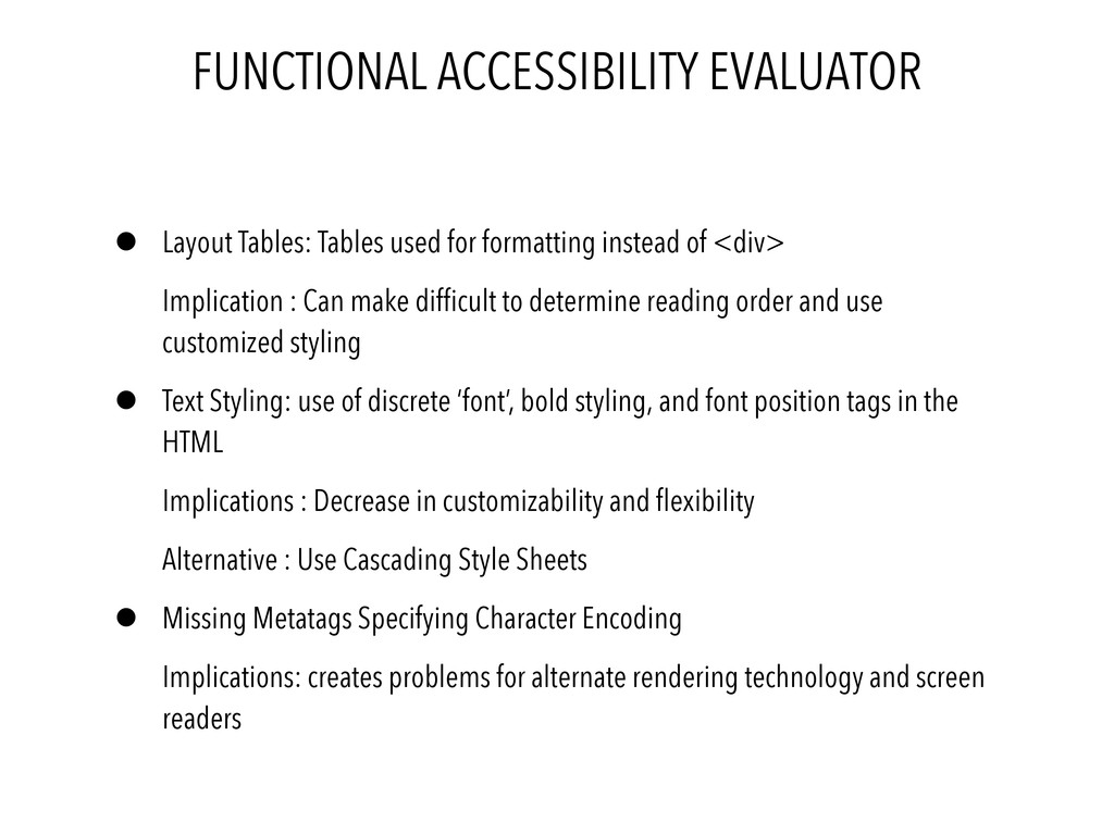 FUNCTIONAL ACCESSIBILITY EVALUATOR • Layout Tab...