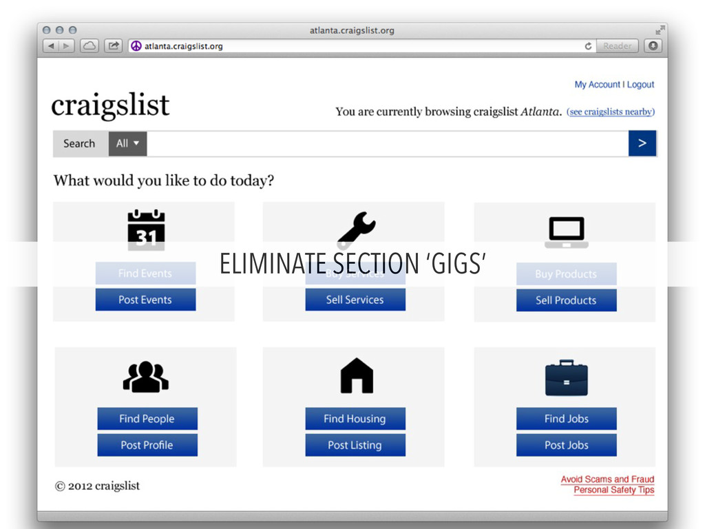 ELIMINATE SECTION 'GIGS'