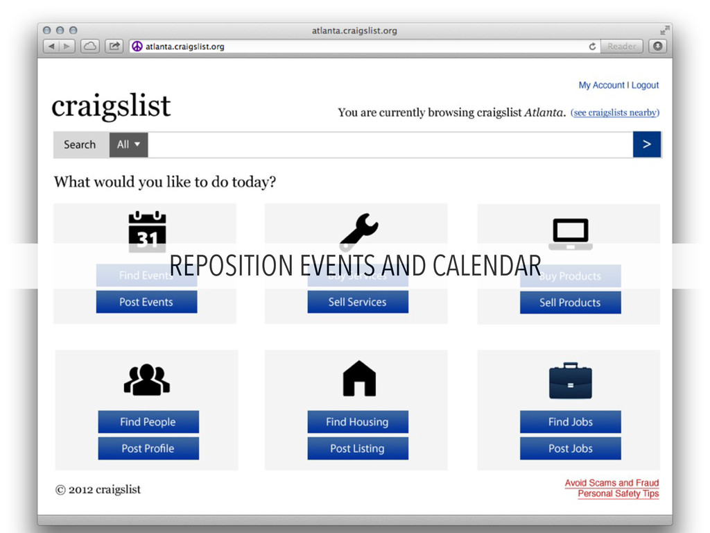 REPOSITION EVENTS AND CALENDAR