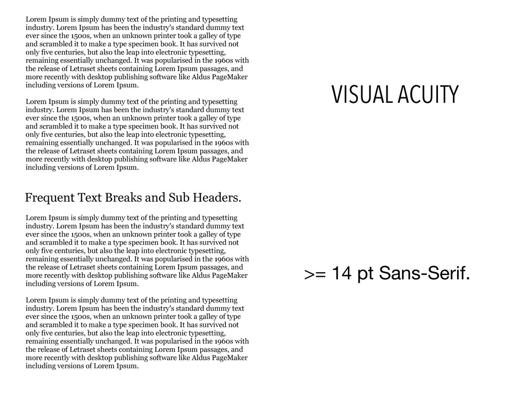 VISUAL ACUITY >= 14 pt Sans-Serif. Lorem Ipsum ...